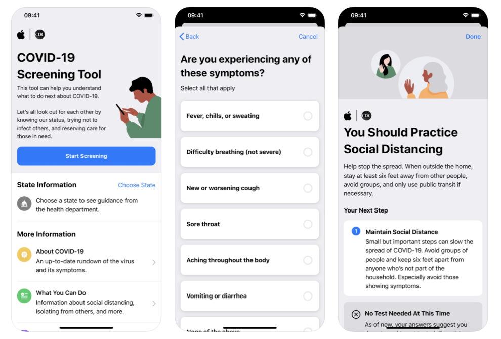 Apple ha aggiornato i suoi tool di screening per il COVID‑19