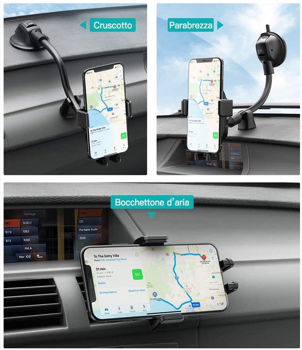 Il supporto per auto di Mpow è universale e con ricarica wireless, oggi e domani a 18,99 euro