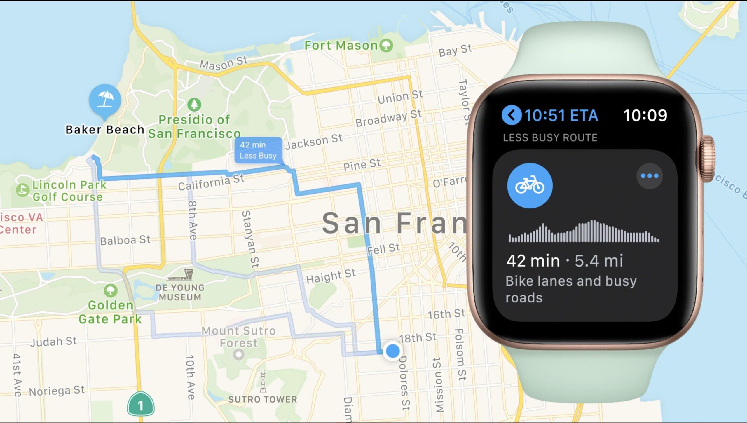 Come funzioneranno le mappe ciclistiche su watchOS 7