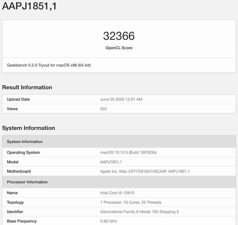 Su Geekbench il benchmark di un iMac con CPU Intel Comet Lake-S 10-Core e GPU Radeon Pro 5300
