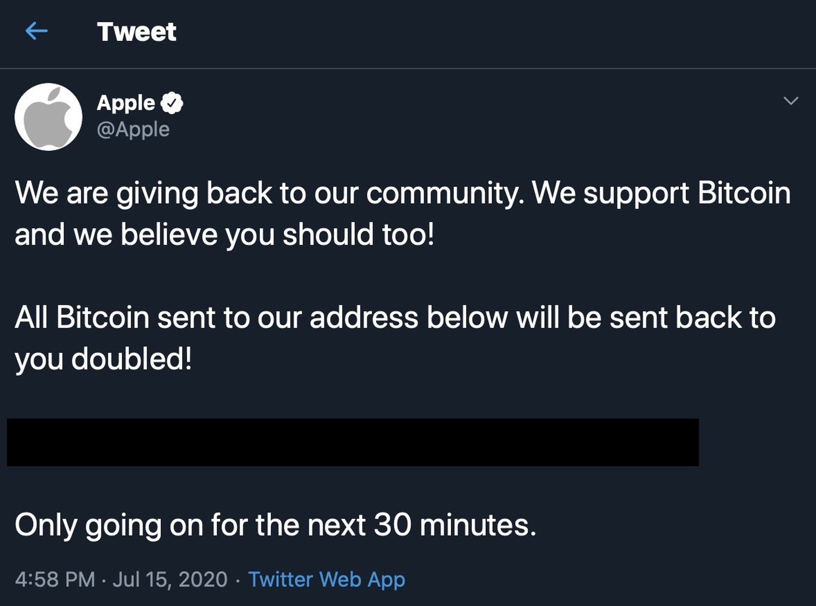 L'account Twitter di Apple hackerato da truffatori di Bitcoin