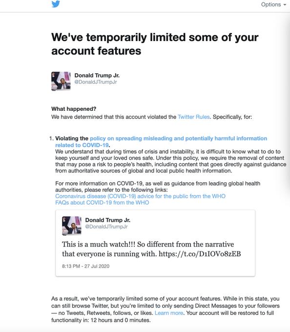 Twitter blocca Donald Trump Jr. per disinformazione sul COVID-19