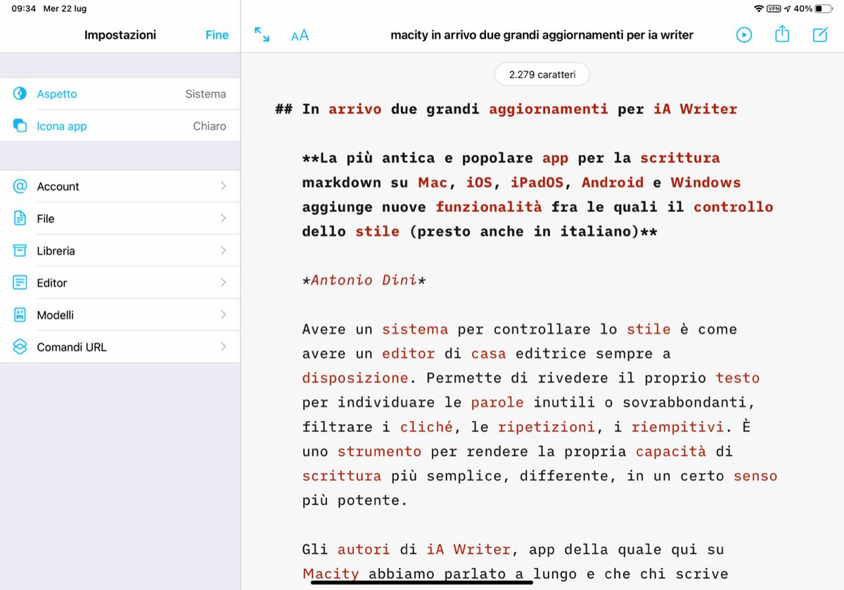 In ia Writer 5.6 arrivano due grandi aggiornamenti