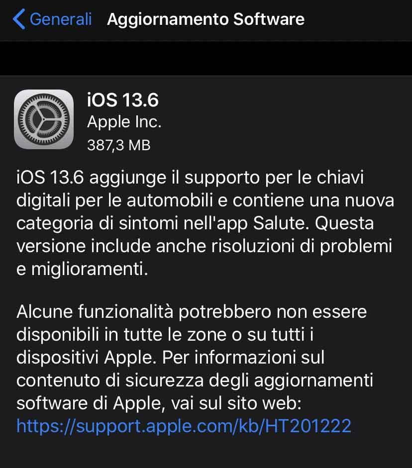 Disponibile aggiornamento a iOS 13.6 e iPad OS 13.6 con supporto CarKey