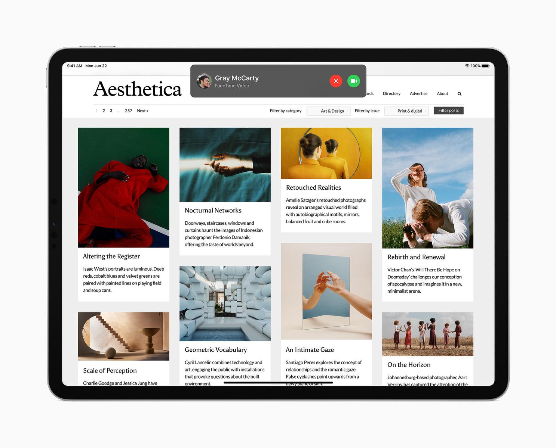 La finestra di chiamata di FaceTime in iPados 14 è in versione minimale
