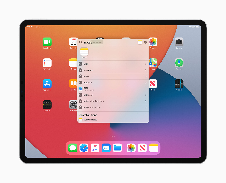 La funzione di ricerca di iPadOS 14 in azione
