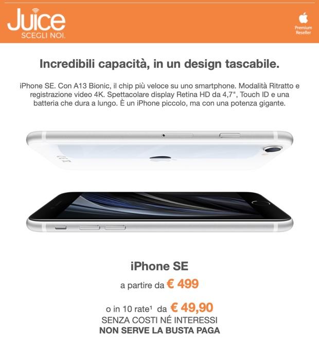 Da Juice iPhone SE si compra a 49,90 euro al mese
