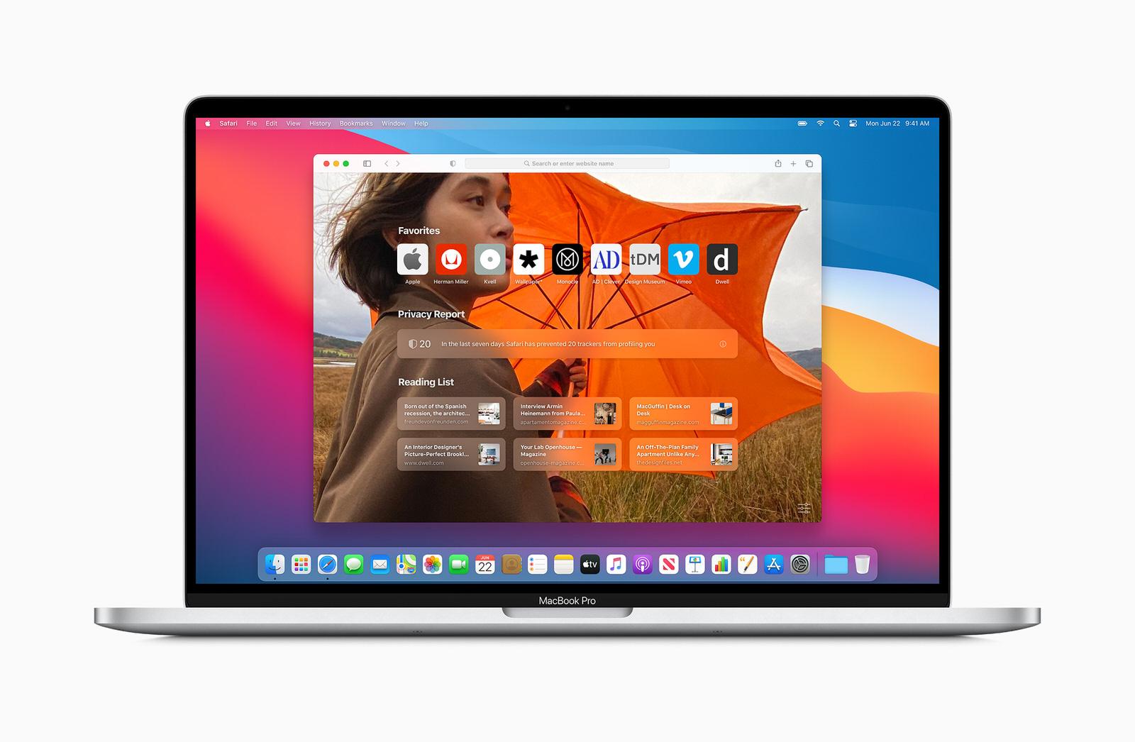Safari è una delle applicazioni rinnovate; qui si vede la pagina iniziale personalizzabile