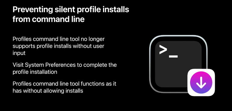 macOS Big Sur, Apple ha eliminato i profili di configurazione che potevano essere installati dalla linea di comando