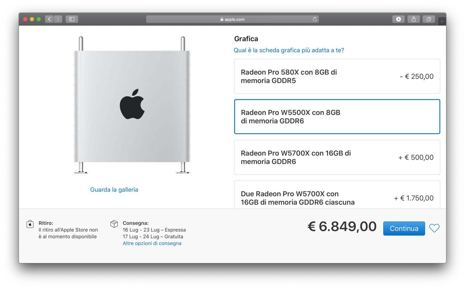 Mac Pro, ora si può sceglire anche la Radeon Pro W5500X