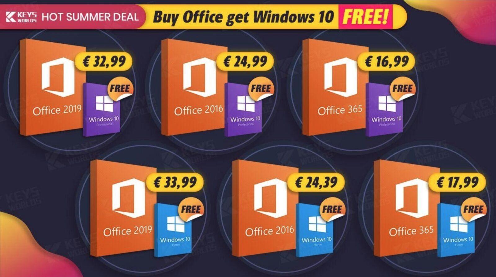Windows 10 gratis acquistando Microsoft Office: si parte da soli 16,99 euro su Keysworlds