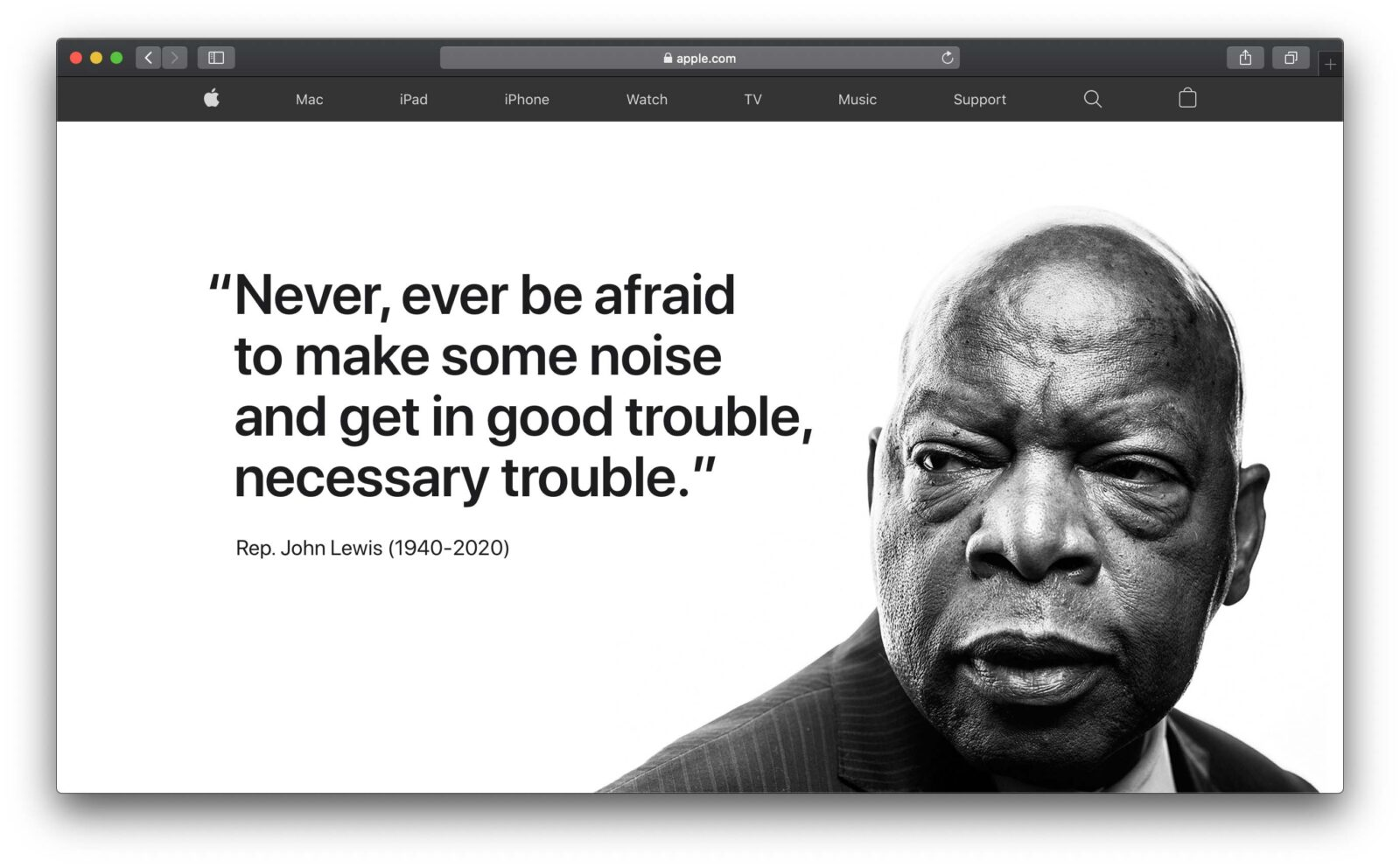 Sulla homepage di Apple omaggio a John Lewis, icona dei diritti civili