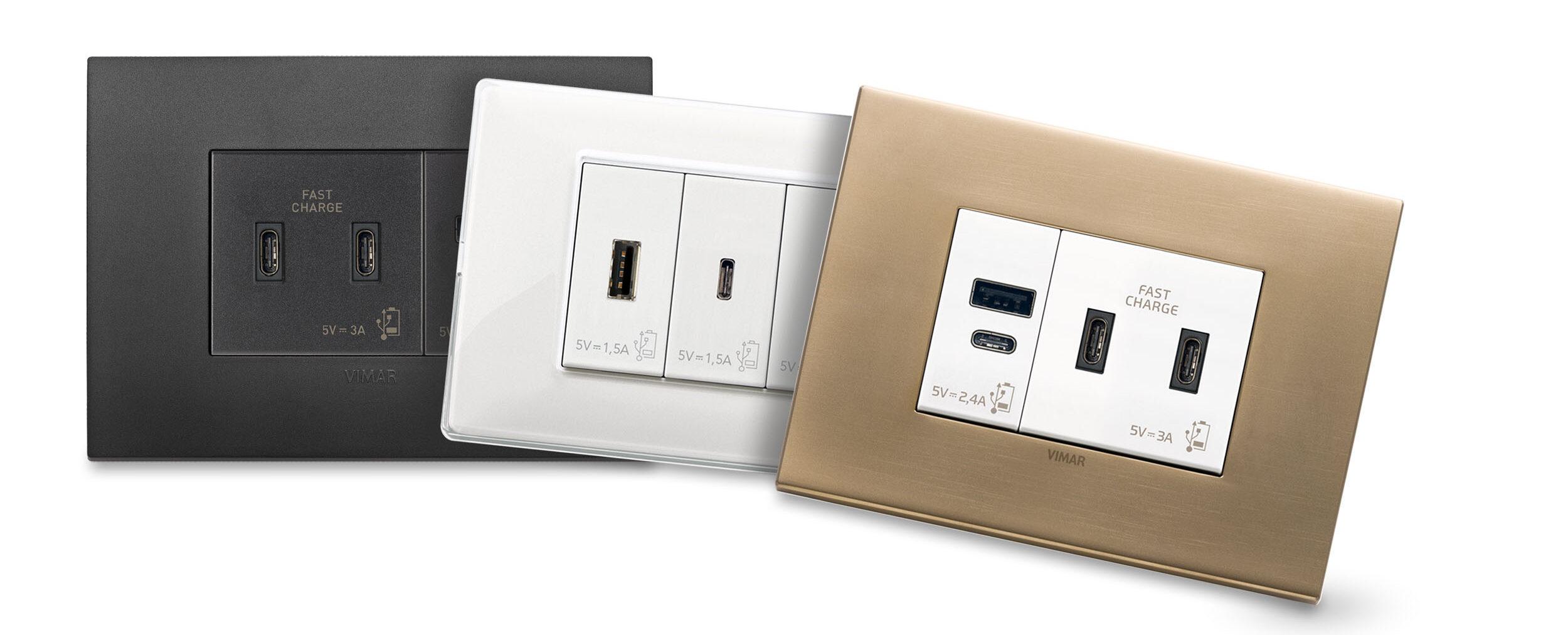 VIMAR presenta le nuove prese USB per ricarica e alimentazione dei dispositivi portatili