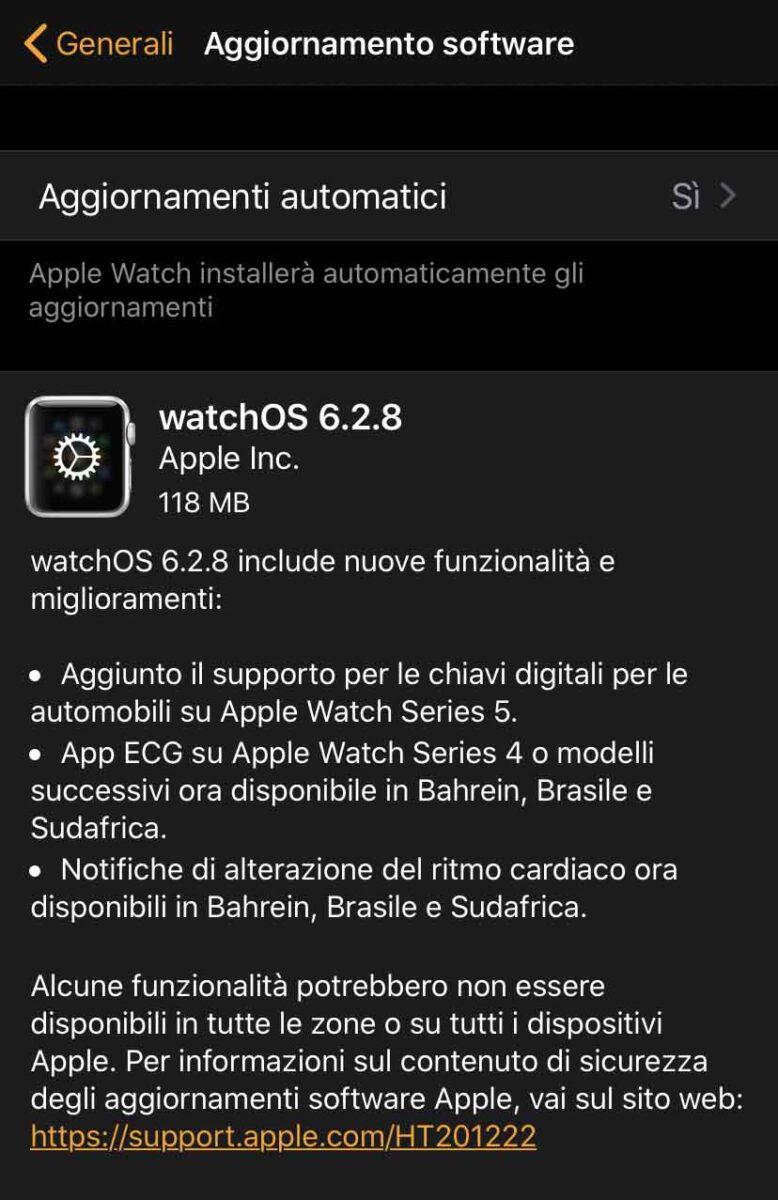 Disponibile la versione definitiva di watchOS 6.2.8