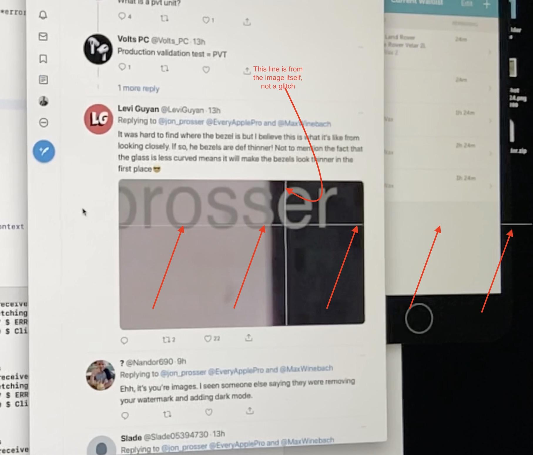 L'effetto prodotto dal bug sullo schermo di iMac