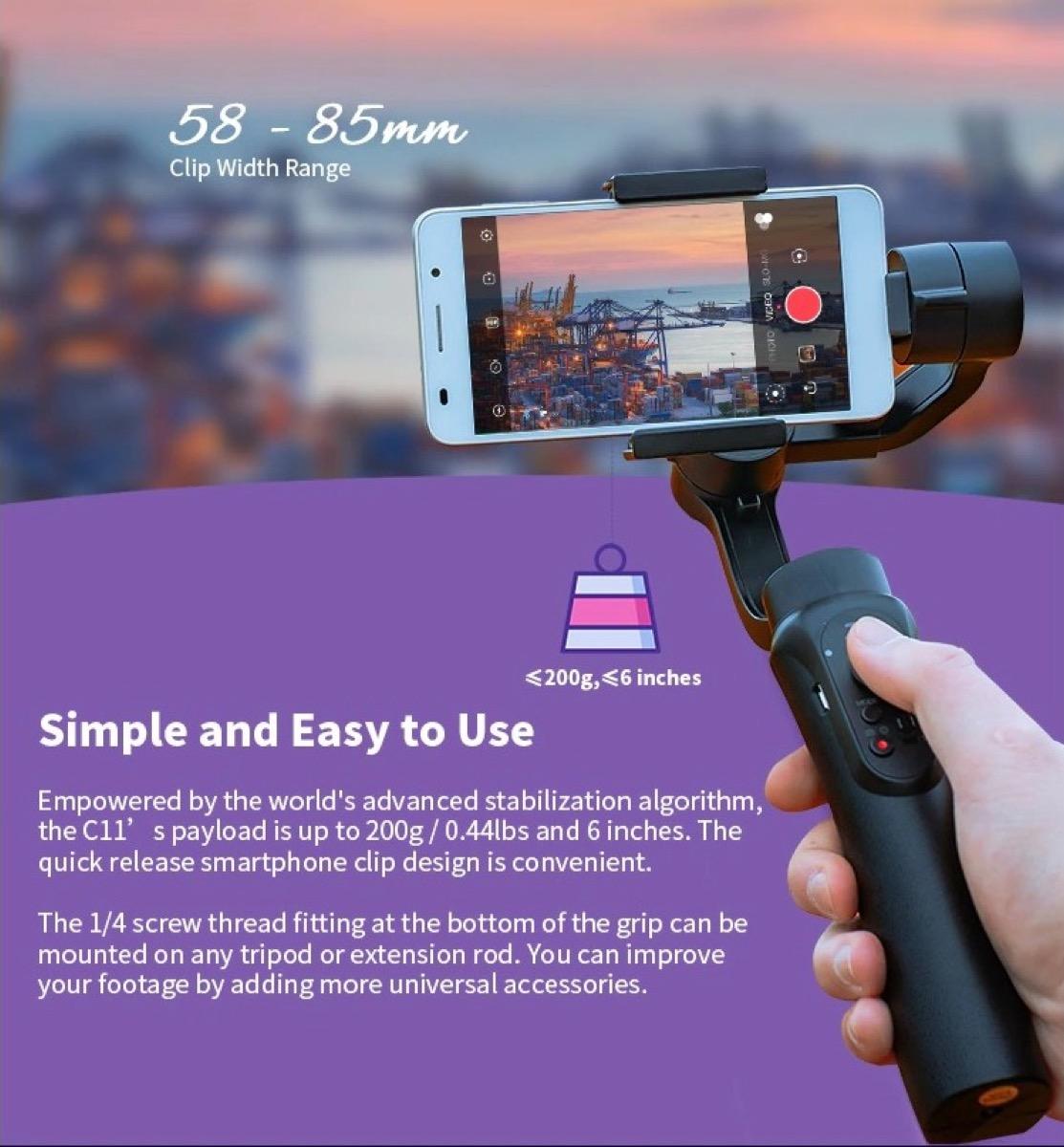 Solo 40 € il gimbal a 3 assi per smartphone CINEPEER C11, con inseguimento del soggetto