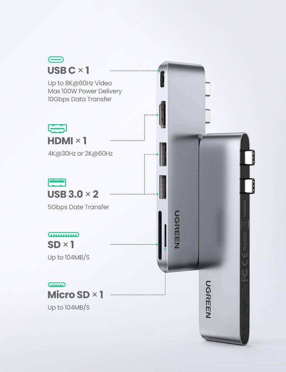 Hub USB-C in alluminio per i MacBook con due porte in sconto a soli 19,99 euro