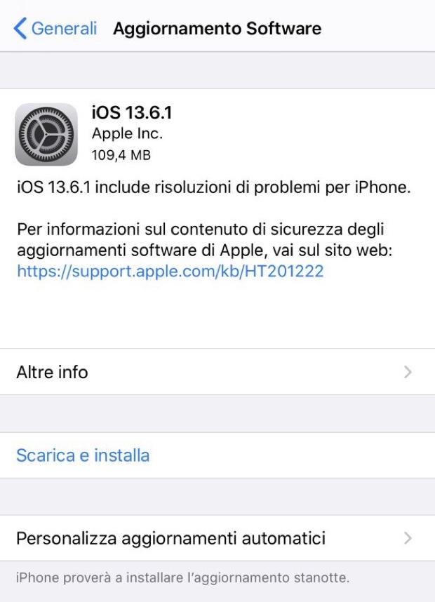 Apple rilascia iOS e iPadOS 13.6.1 per risolvere tre bug