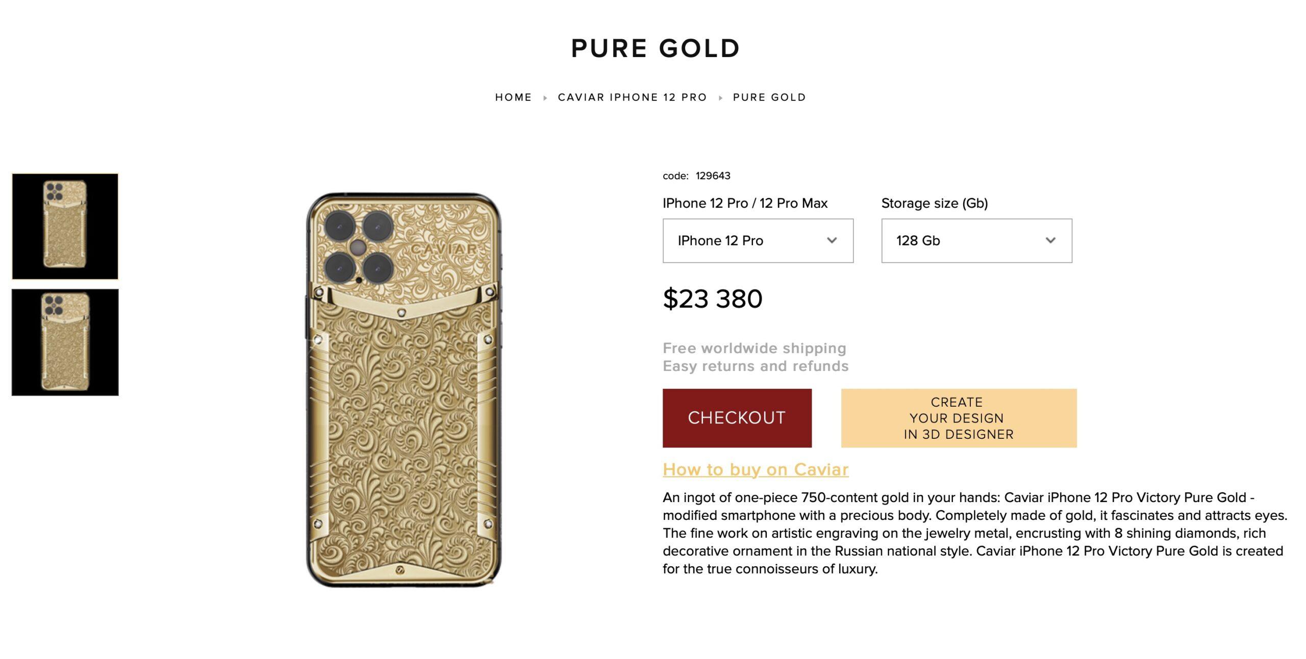 Preordinate il vostro iPhone 12 da Caviar, potete averlo anche in oro
