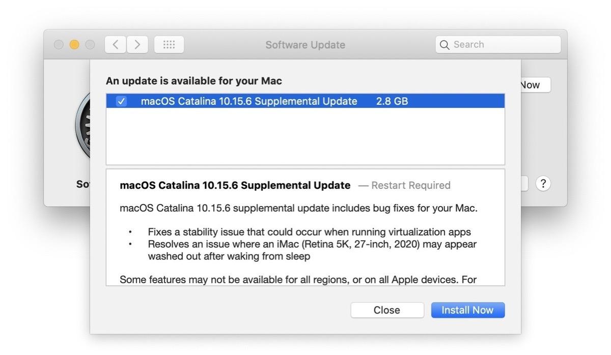 aggiornamento supplementare macOS Catalina 10.15.6