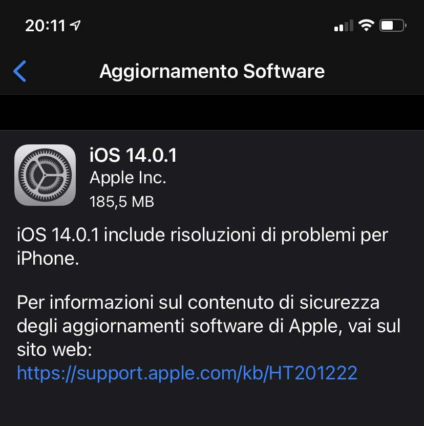 Disponibile aggiornamento a iOS 14.01