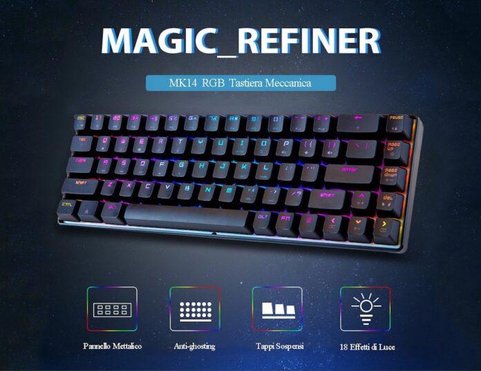 MAGIC REFINER MK14, la tastiera meccanica RGB con interruttori blu in super sconto con coupon a 34,39 euro
