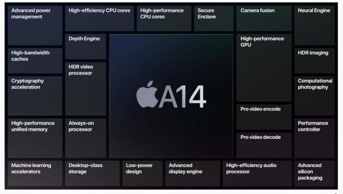 """L'A14 di Apple è il primo chip a 5nm. """"Prestazioni superiori su quasi tutta la linea""""."""