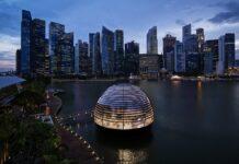 L'Apple Store galleggiante di Singapore è ispirato al Pantheon di Roma