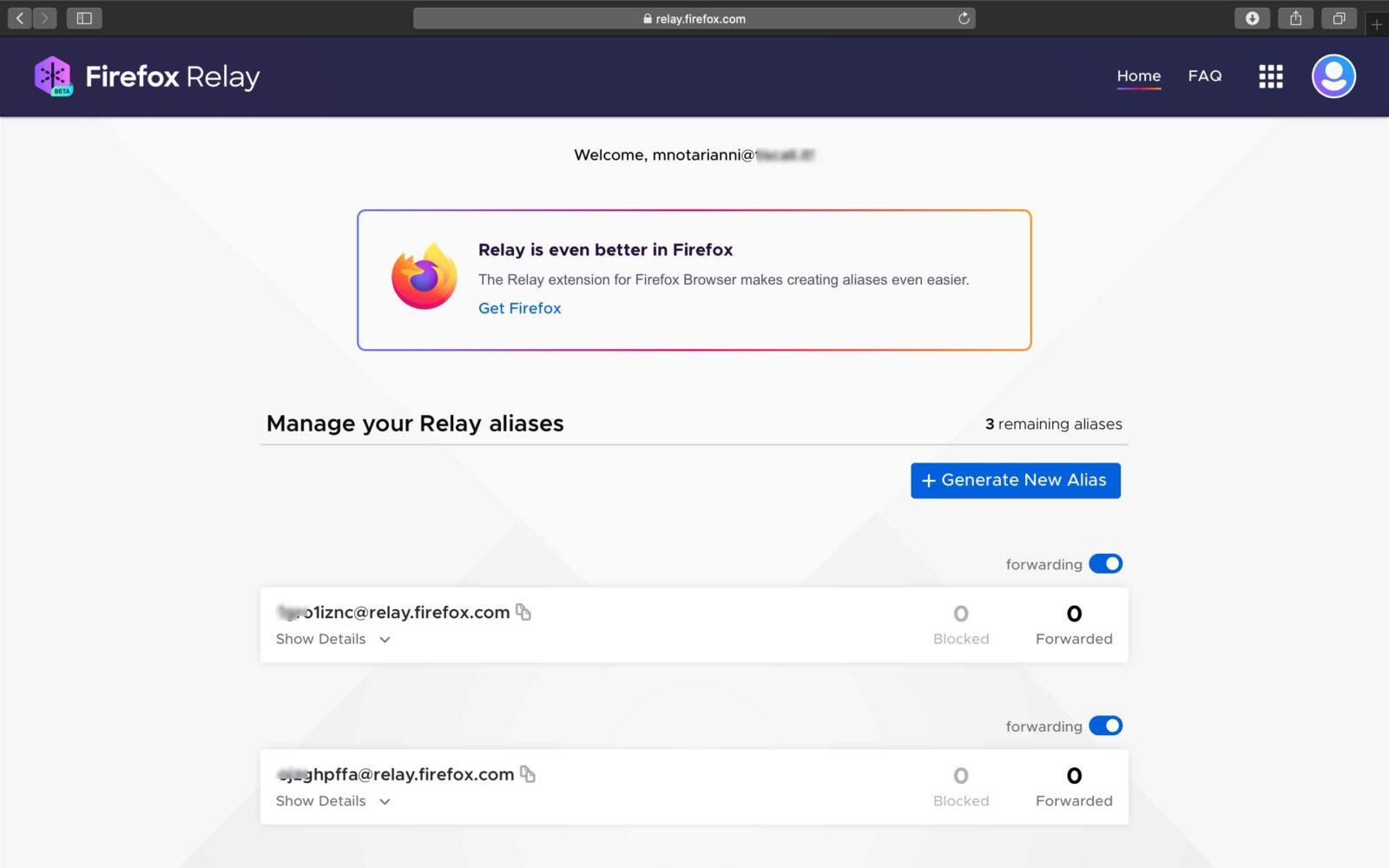 Firefox Relay rende facile creare alias degli indirizzi mail