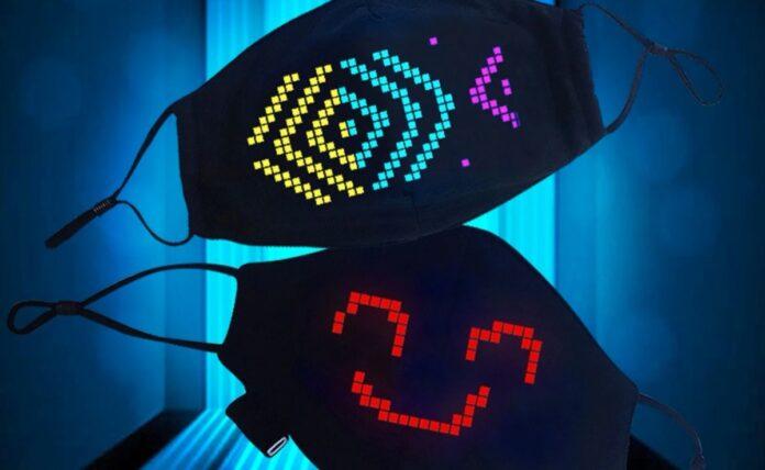 Mascherina con LED e grafica personalizzabile via app a meno di 12 euro