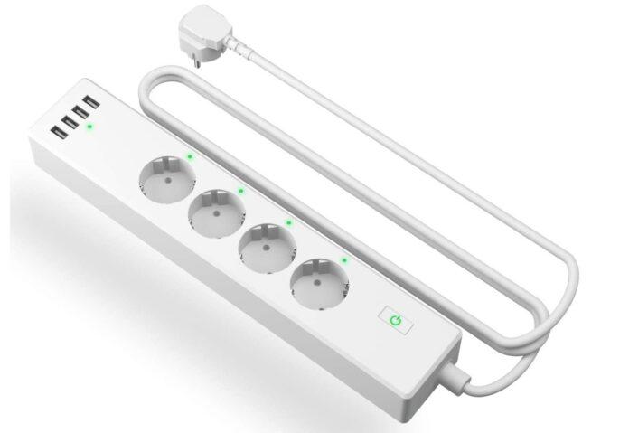 Ciabatta smart, compatibile Alexa: 4 shucko e 4 USB, solo oggi a 26,72 €