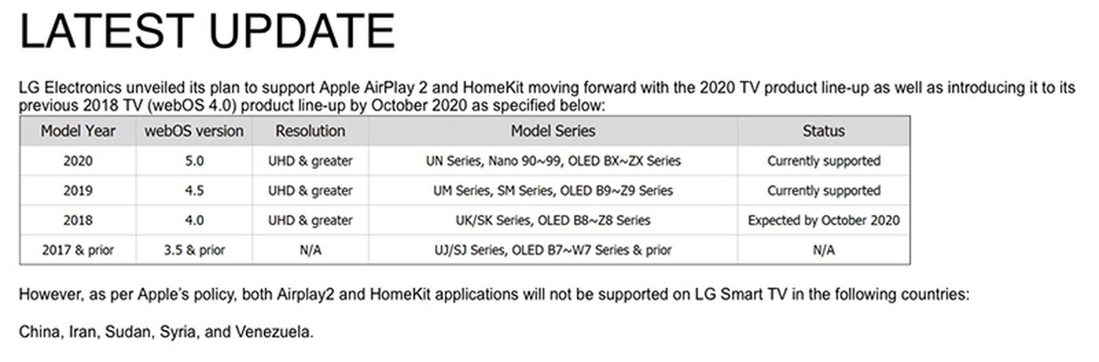 LG ci ripensa, niente AirPlay 2 e HomeKit sui televisori 2018