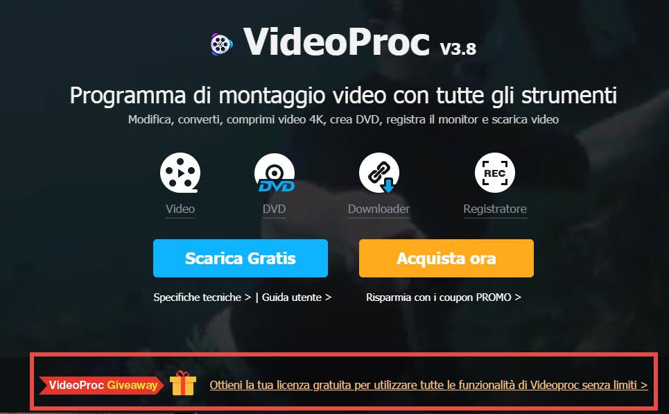 VideoProc, la suite per l'editing e la conversione video, si scarica gratis