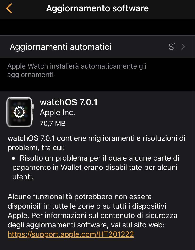 Disponibile watchOS 7.0.1