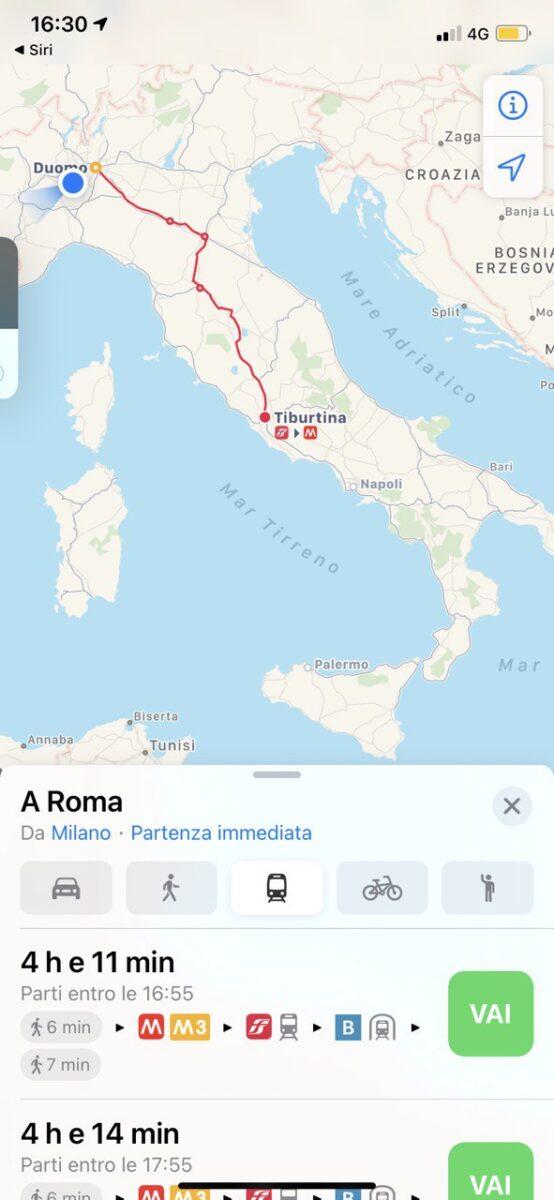 Apple Mappe amplia Transit con i mezzi pubblici in Italia