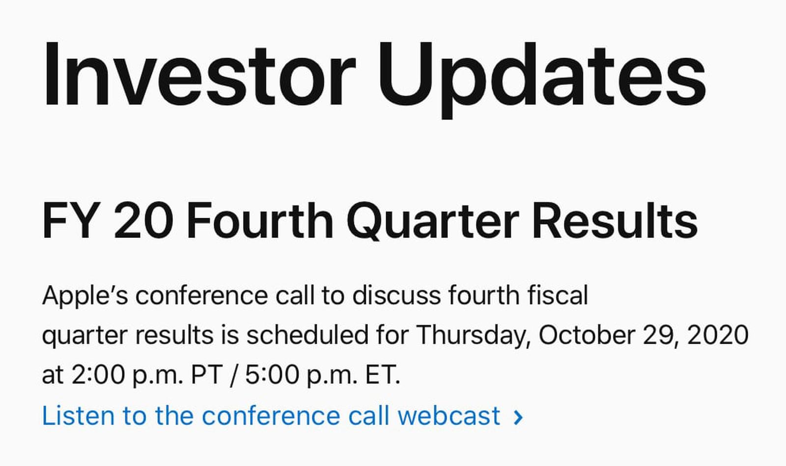 Apple presenta i risultati del quarto trimestre 2020 a fine mese