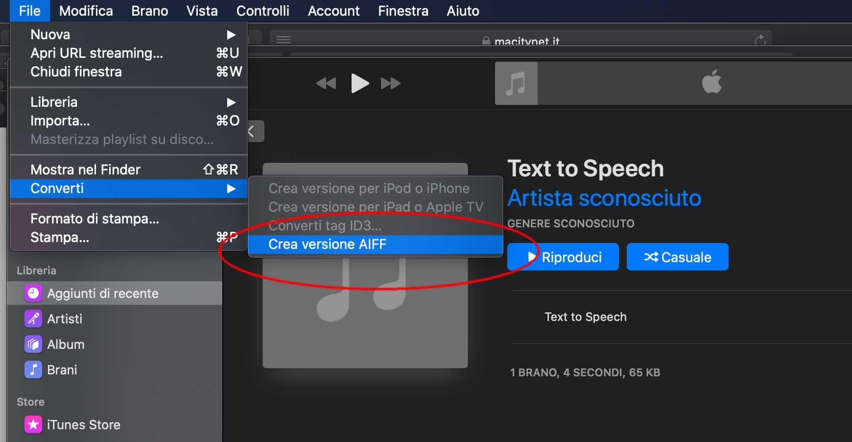 Come trasformare un testo in voce registrata su su file con macOS