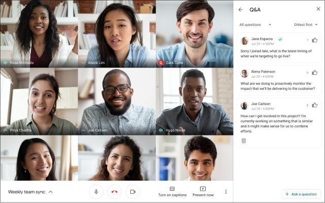 Google Meet offre Q&A e sondaggi a pagamento