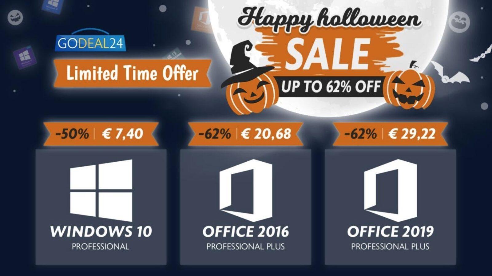 Solo 6 € Windows 10, solo 15 € Office: offerte Microsoft da paura per l'Halloween di GoDeal24.com
