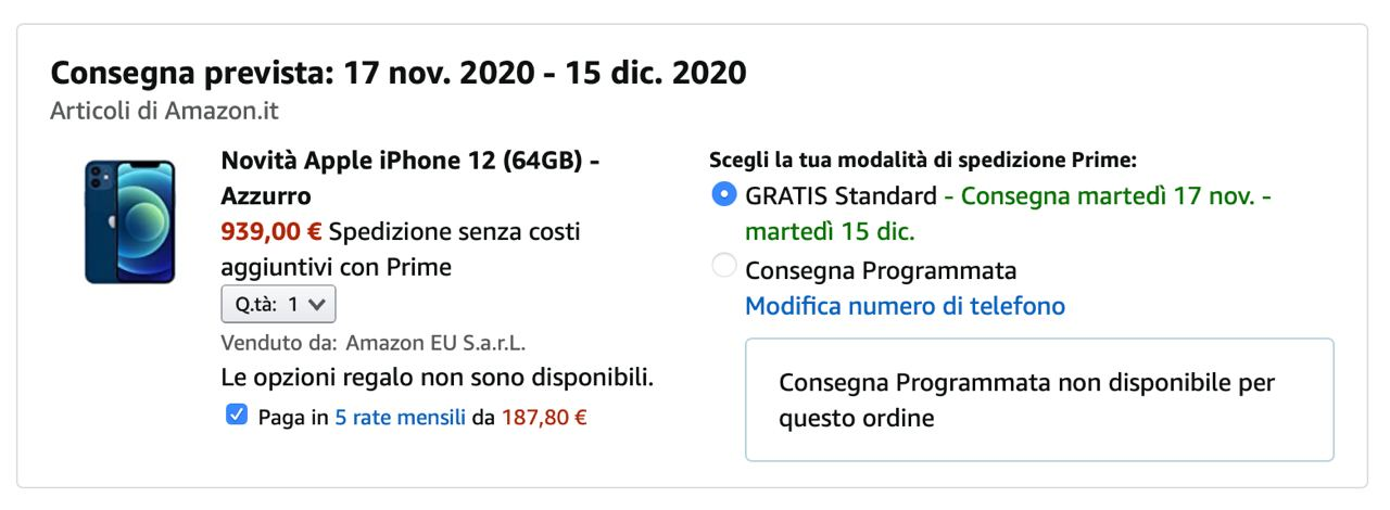 Acquista iPhone 12 a rate su Amazon senza busta paga, senza finanziamento e con carte ricaricabili