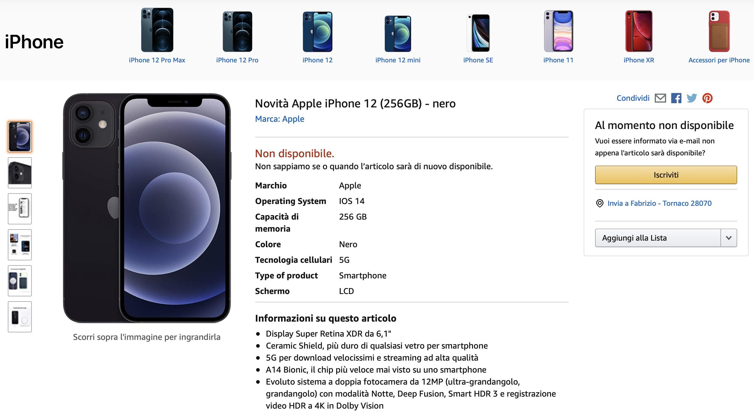Amazon mette a listino i nuovi iPhone 12 e iPhone 12 Pro
