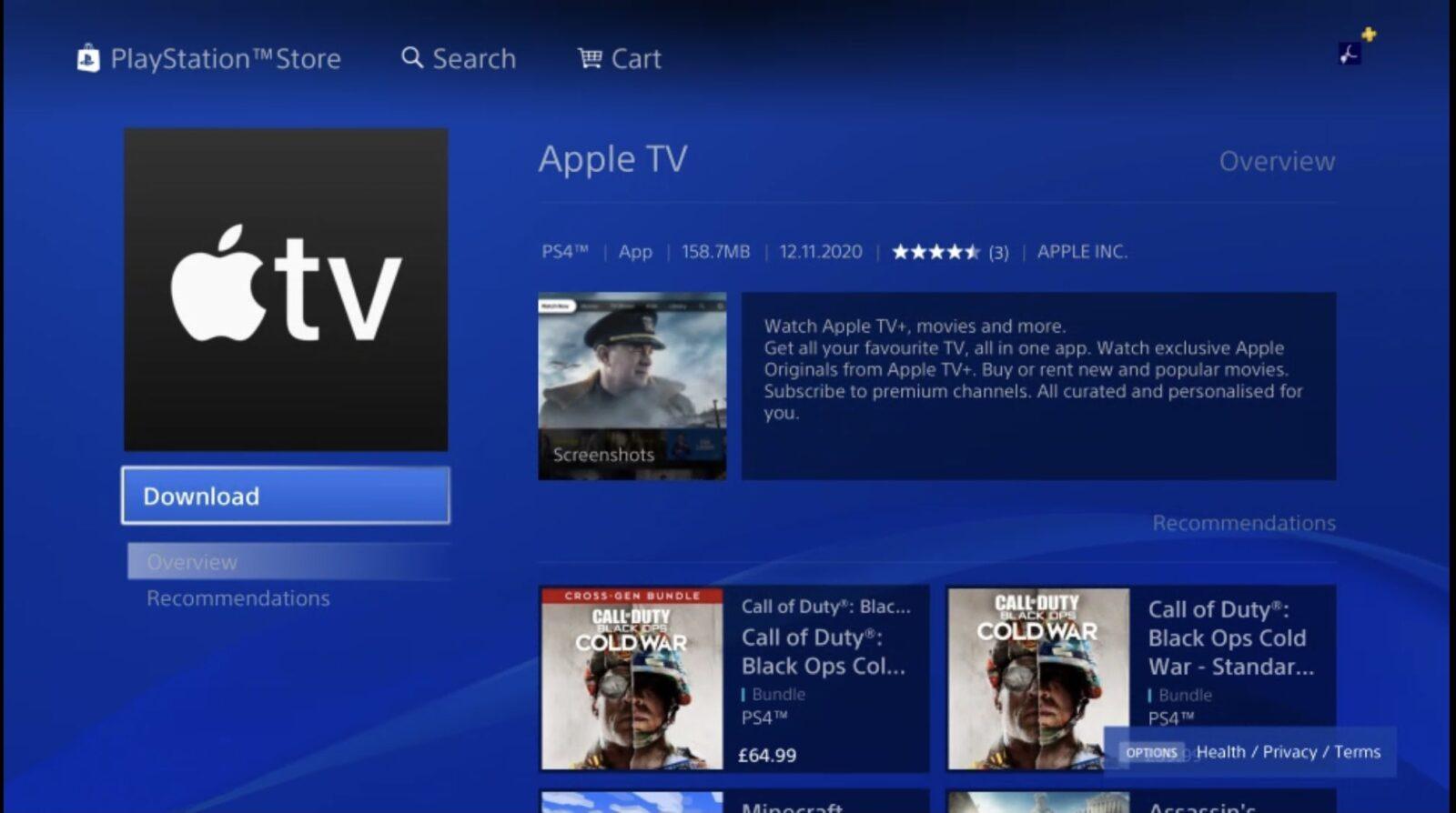 L'app Apple TV è disponibile su Playstation e Xbox