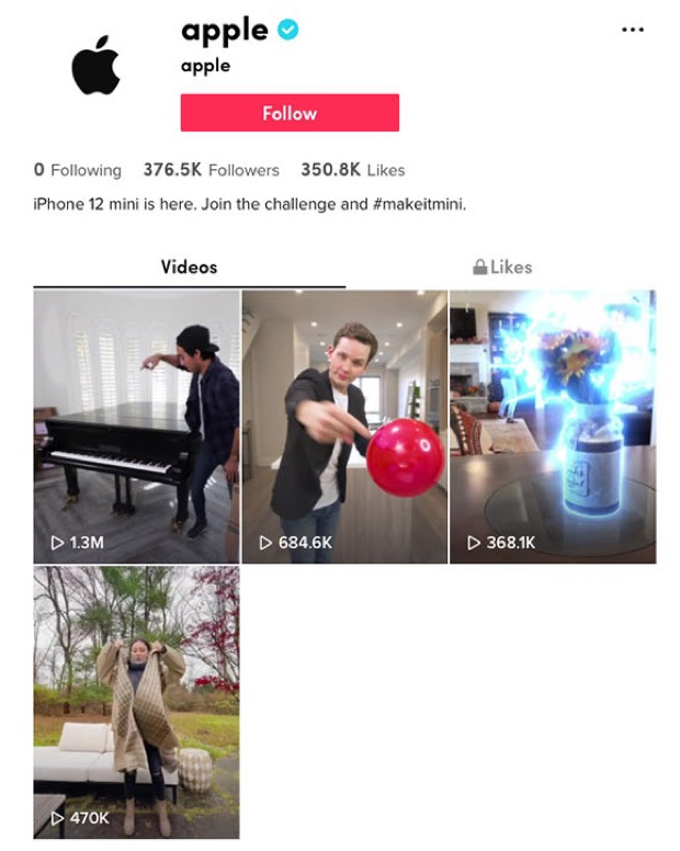Apple usa TikTok per promuovere iPhone 12 mini