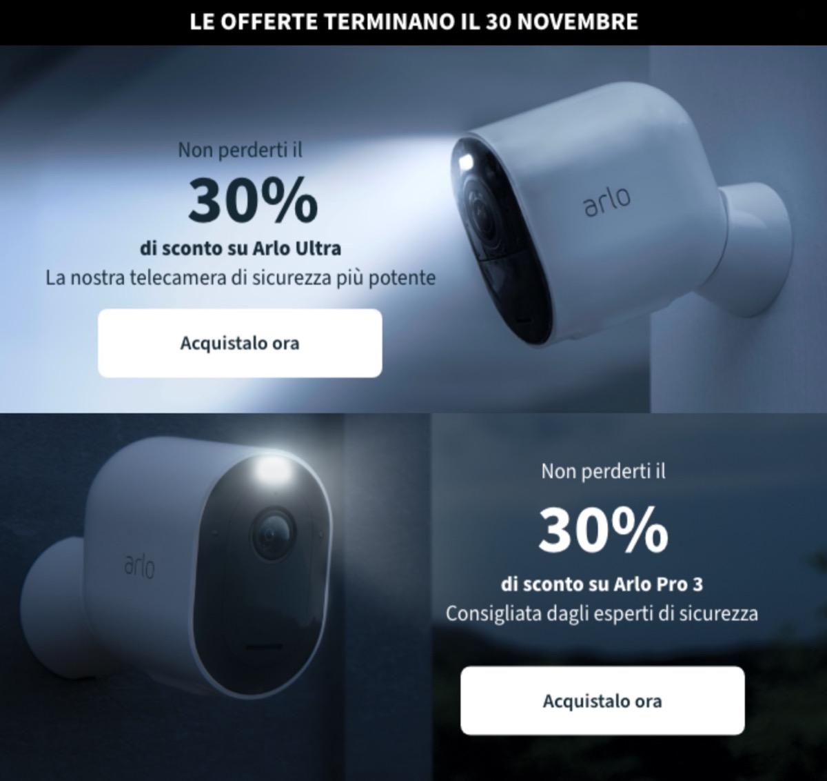 Settimana Black Friday Amazon: Netgear Arlo Pro3 e Arlo Ultra in sconto fino al 35%