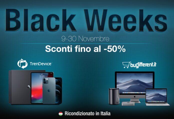 Sconti Black Weeks TrenDevice e BuyDifferent: fino al -50% su tutti i Ricondizionati. iPhone X da 389,90 €, iPhone 8 da 219,90 €