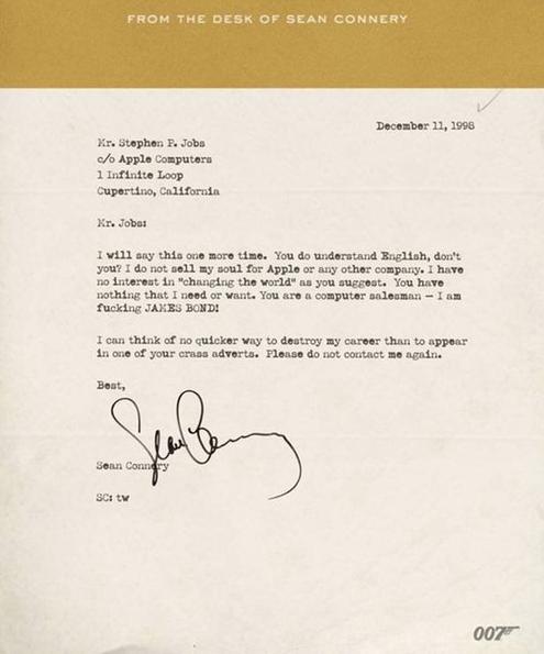 Sean Connery: torna la lettera arrabbiata a Steve Jobs, ma è un falso