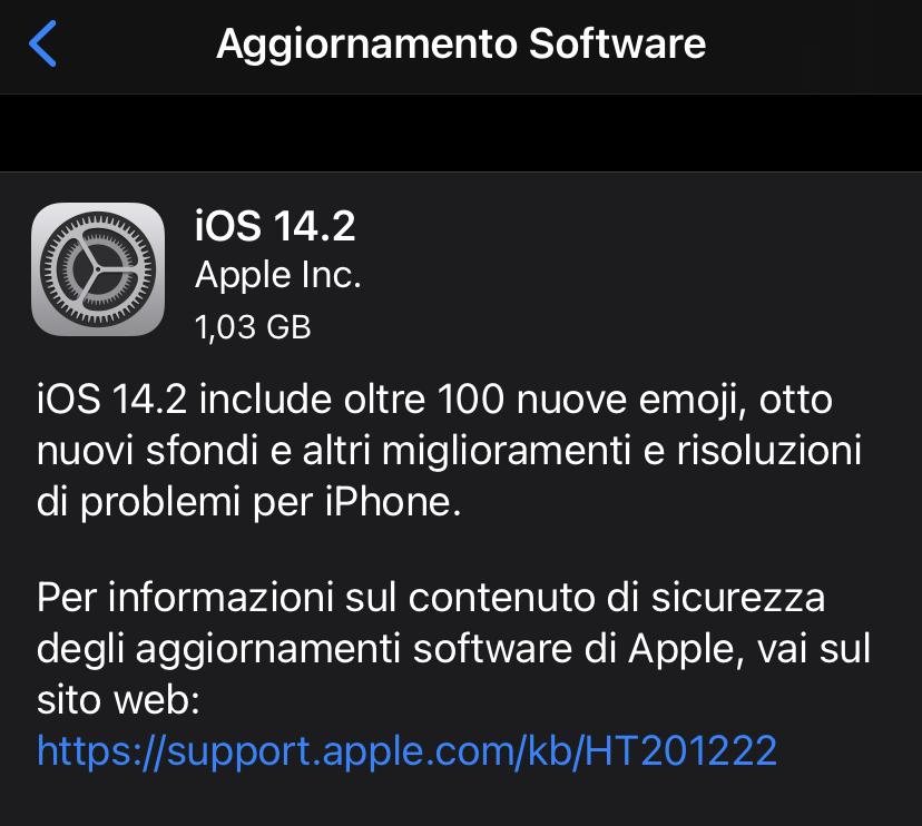 Disponibile aggiornamento a iOS 14.2