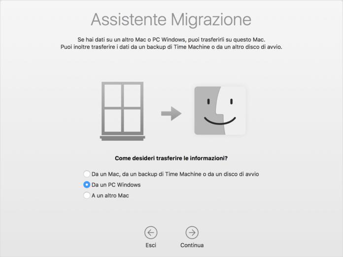 macOS Big Sur, Apple ha aggiornato l'utility Assistente Migrazione per Windows