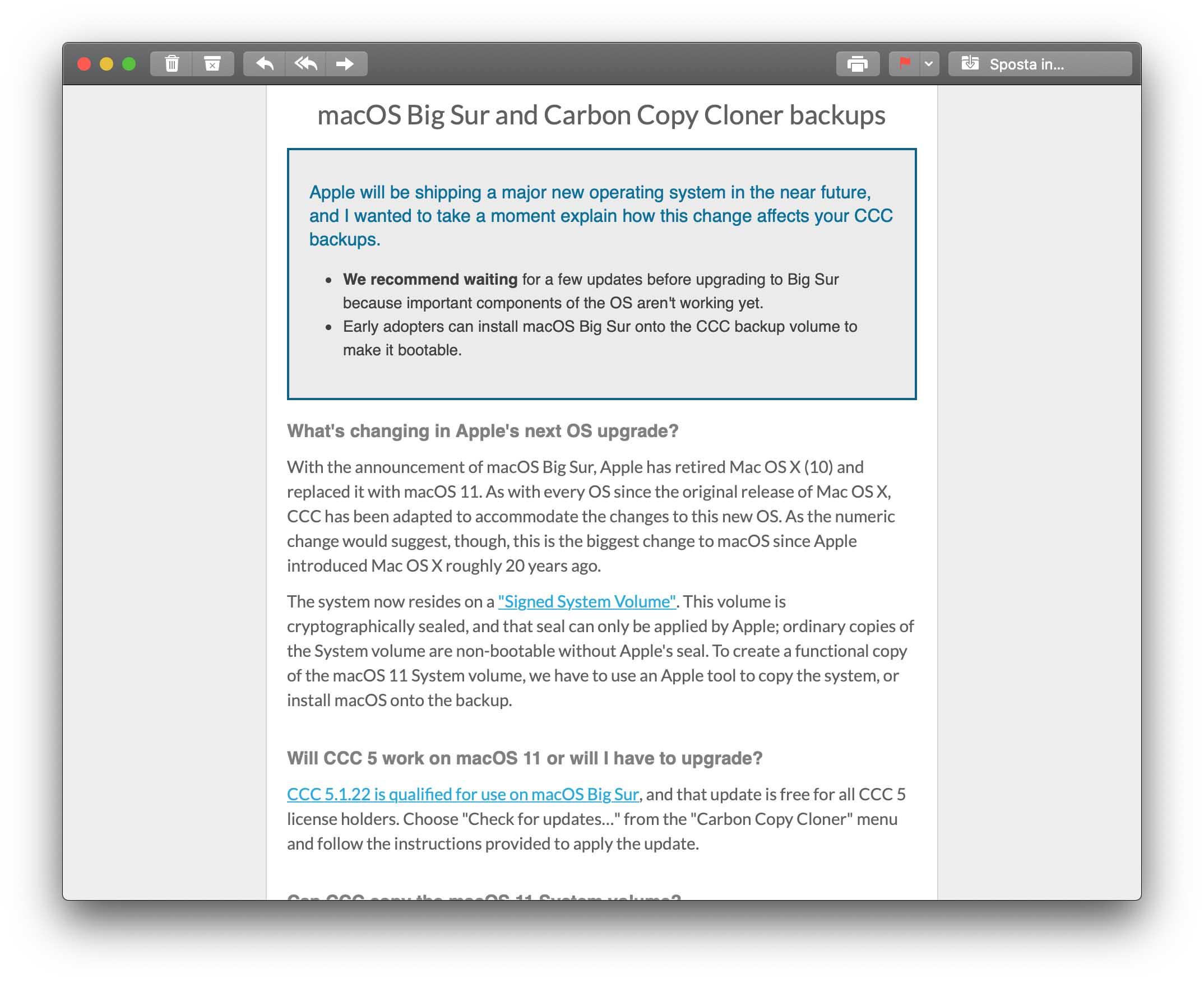 Gli sviluppatori di Carbon Copy Cloner riferiscono di problemi di compatibilità con macOS Big Sur