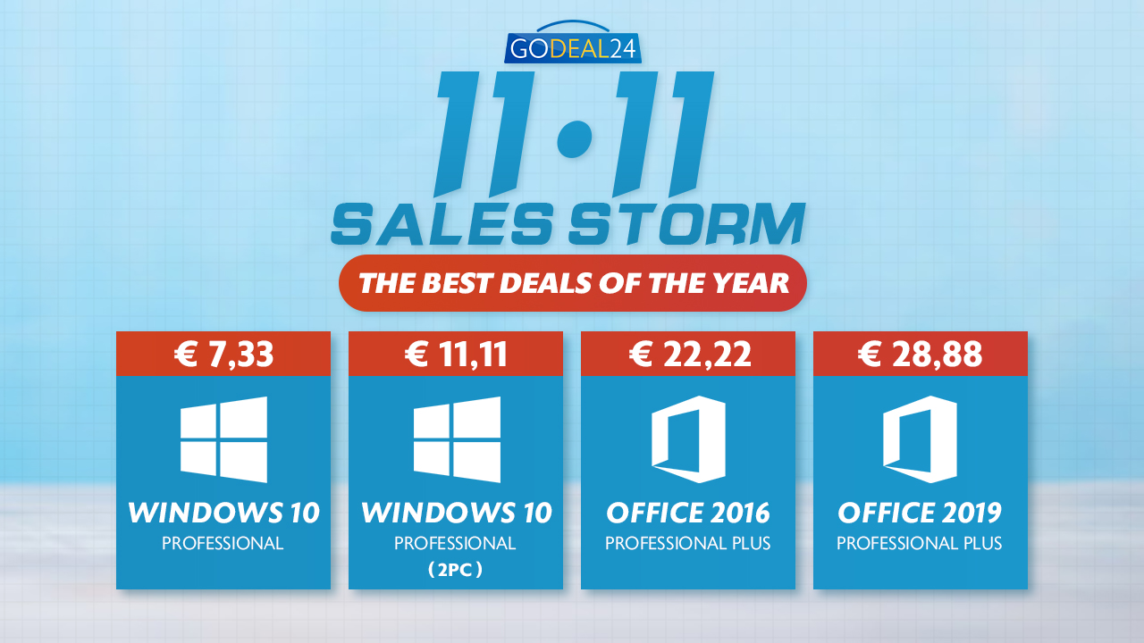 Windows 10 a soli 5 € , Office a soli 15 €: sconti Microsoft per l'evento 11.11 di GoDeals24